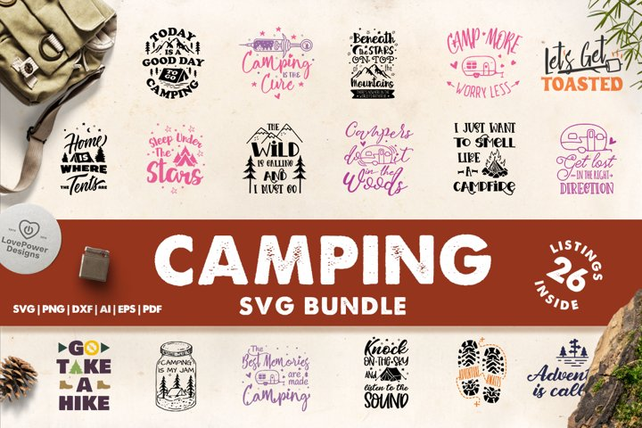 Camping SVG Bundle | Camping Bucket Bundle | Adventure SVG