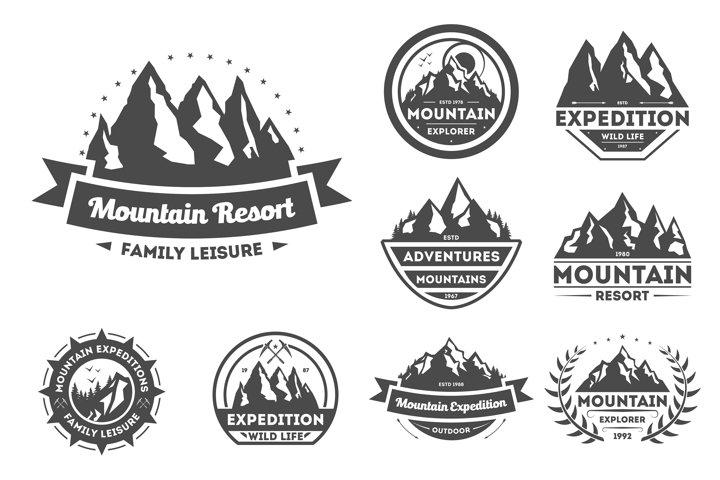 Mountain explorer vintage isolated label set