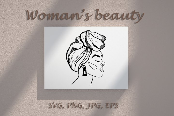 Vector womans face outline. SVG