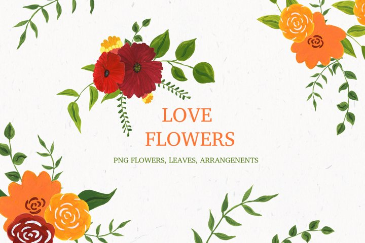 Love flowers. Acrylic collection, spring and summer floral