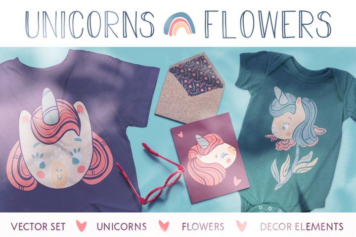 Unicorns and flowers