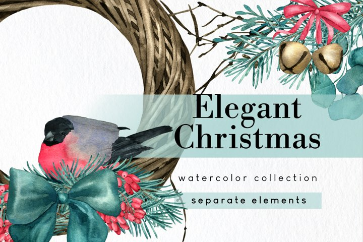 Watercolor Elegant Christmas rustic clipart set