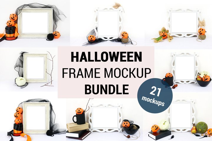 21 Halloween Frame Mockup BUNDLE, Halloween Sign Mockup 1089