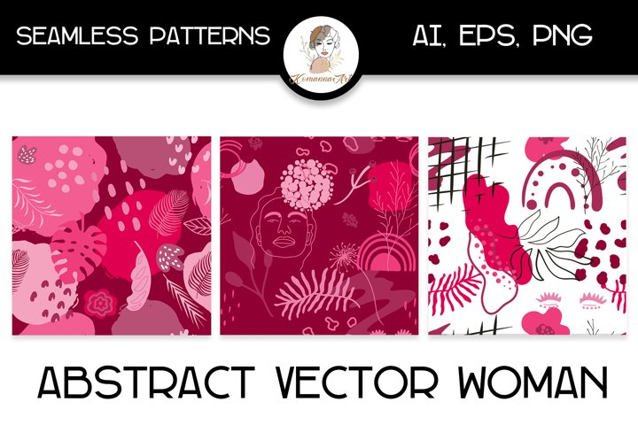 Abstract pink woman vector seamless patterns, hand drawn