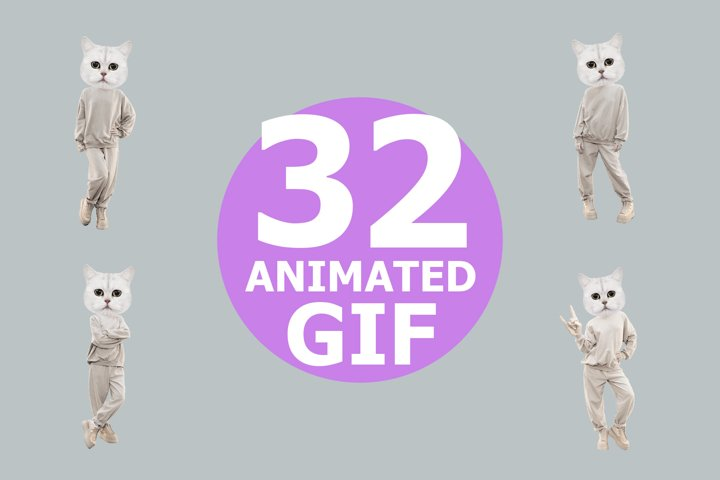 Funny gif animated Kitty power