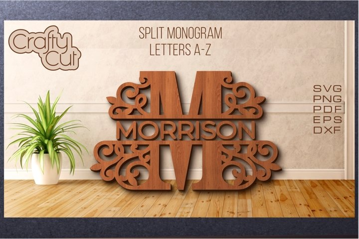 Split monogram. Split Letters A-Z. Monogram SVG files.