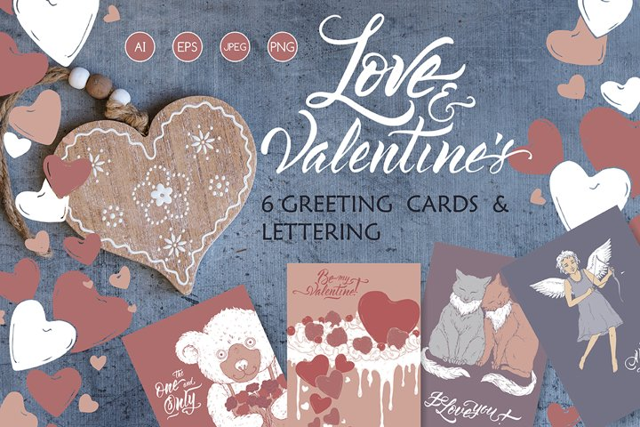 6 Romantic cards and lettering