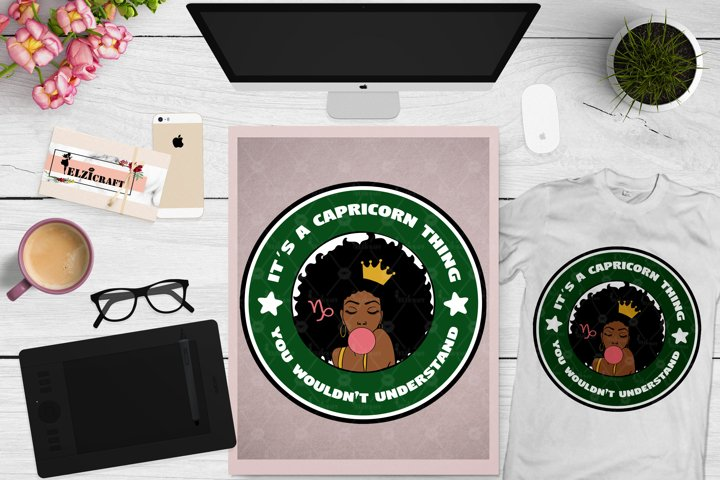 Zodiac, Afro Woman, Capricorn, Melanin Poppin, Afro Girl SVG