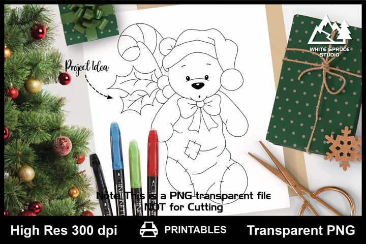 Teddy Bear in Christmas Stocking Printable Line Art