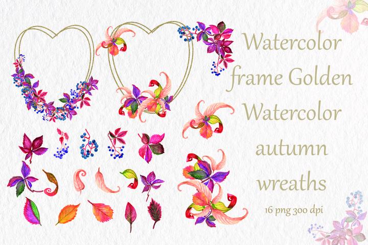 Autumn wreaths geometric, watercolor frames ,autumn leaves,