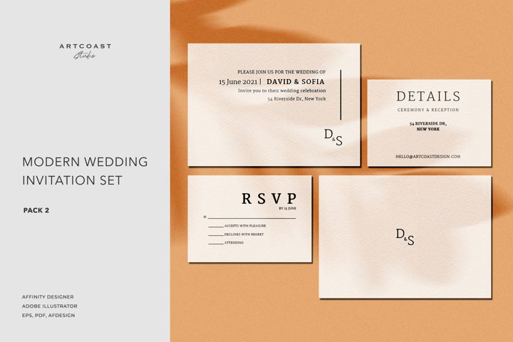 Modern Wedding Invitation Set #2