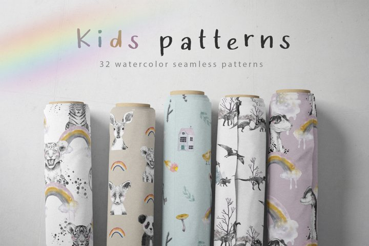 Watercolor kids patterns