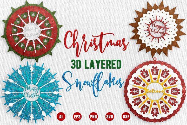 Christmas 3D Layered Snowflakes - Christmas 3D Mandala