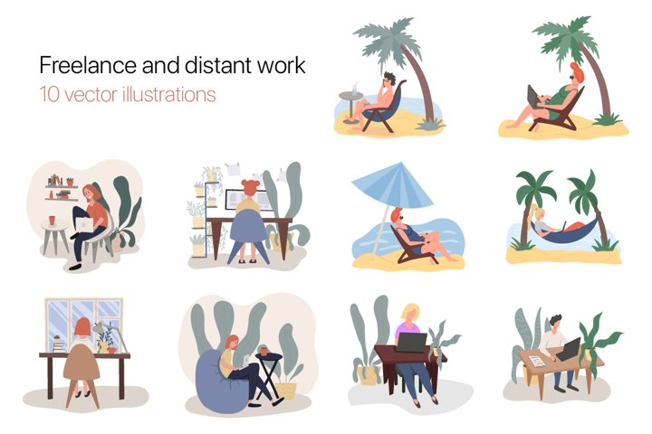 Colorful Freelance vector characters