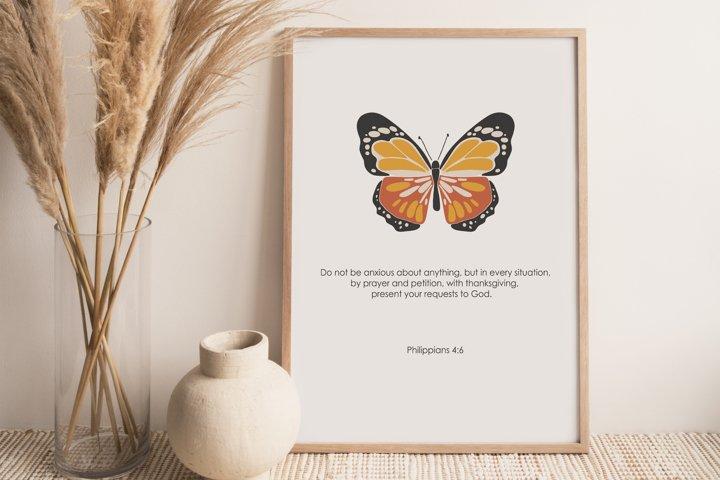 Boho butterfly print, Digital butterfly art and bible verse