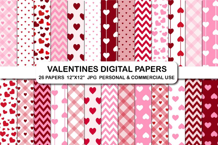 Valentines day digital papers Love Hearts Valentines day