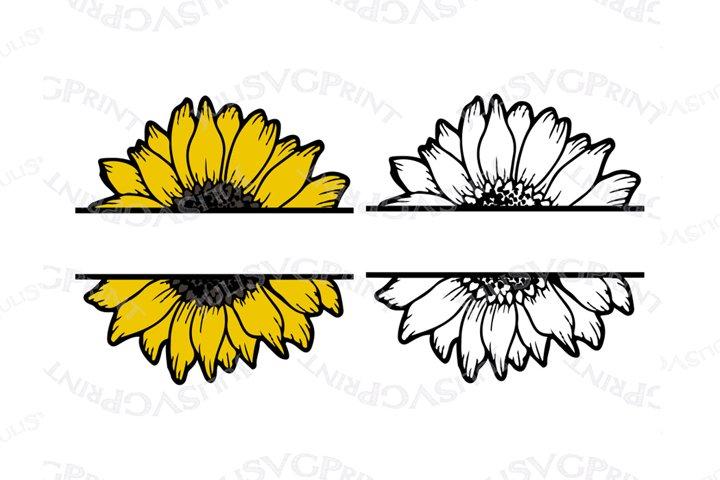 Split Sunflower svg Monogram Half Sunflower clipart cut file