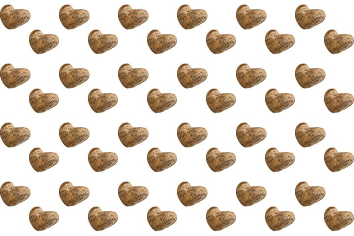 Seamless pattern of ugly heart-shaped potatoes.