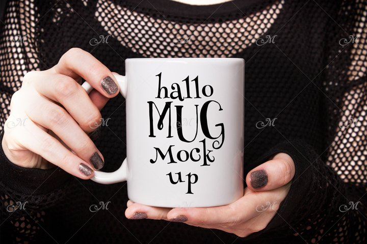 Halloween Coffee Mug Mock up. PSD & JPEG