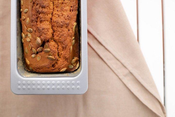 Fresh homemade pumpkin bread, cake in a baking dish.