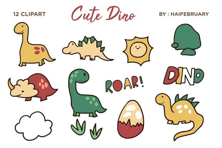 Cute Dino Clipart Illustration Set