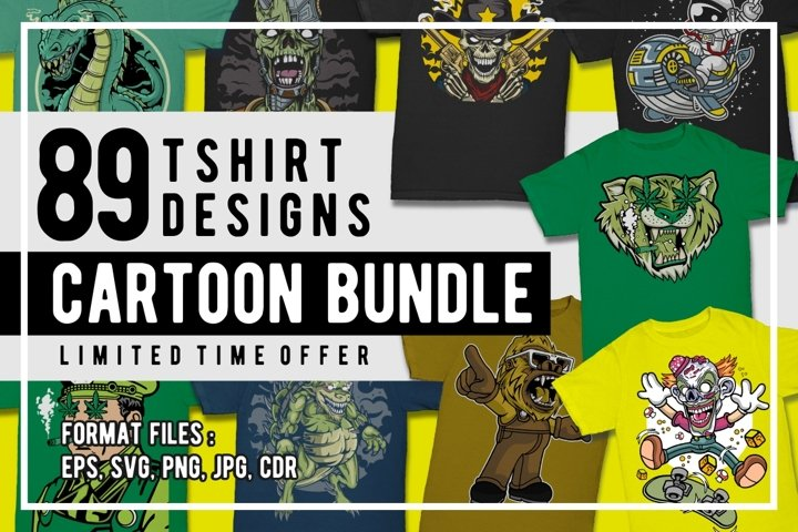 89 Cartoon Tshirt Designs Bundle