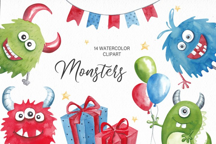 Watercolor Monsters Clipart, Birthday Clipart