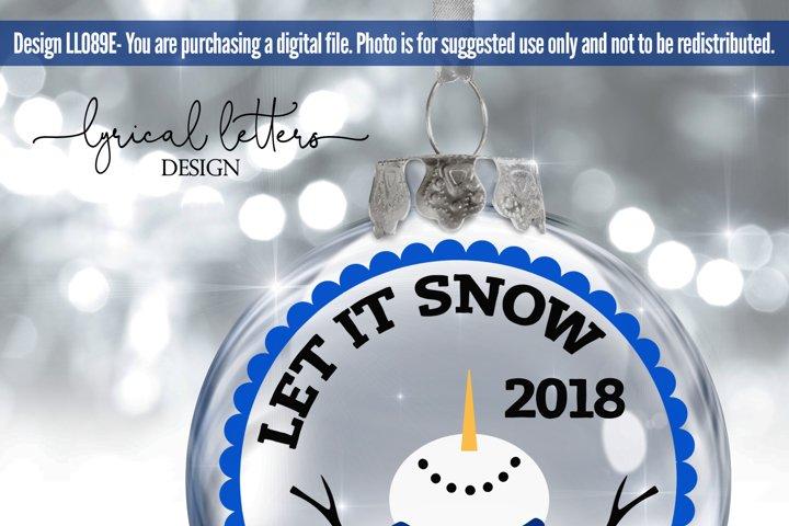 SALE! Let It Snow Snowman Ornament SVG Cut File LL089E example 1