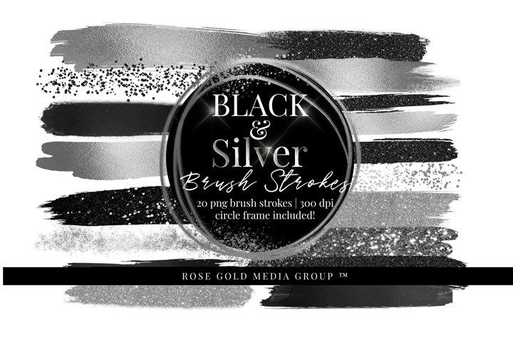 Silver & Black Brush Strokes