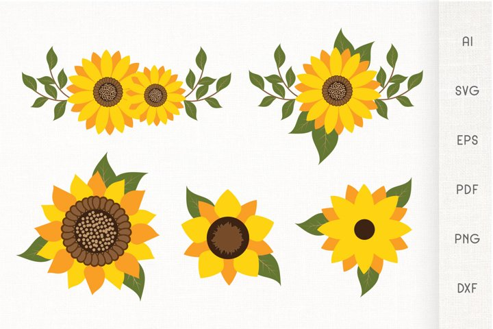 Sunflowers SVG - Sunflower With Leaves - Vector