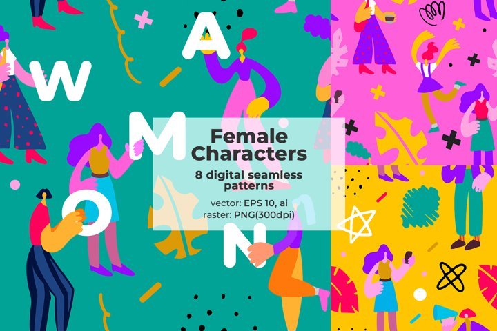 Seamless pattern with modern female characters