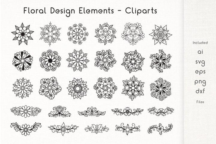 Floral Design Elements - Cliparts