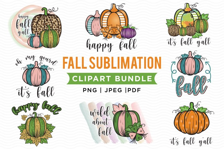 Fall Sublimation Bundle, PNG, JPEG, PDF, Pumpkin Clipart