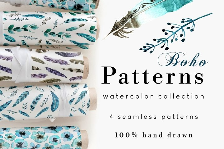 Boho Feathers Seamless Pattern Set of 4
