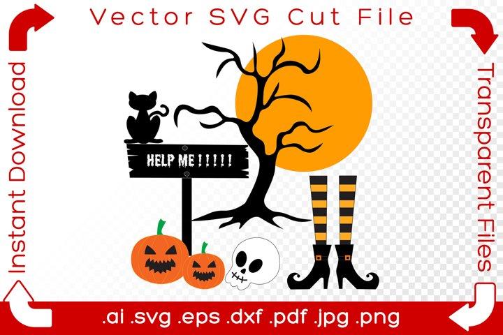 Halloween Vector Elements SVG Scene Holiday Cut Files Bundle