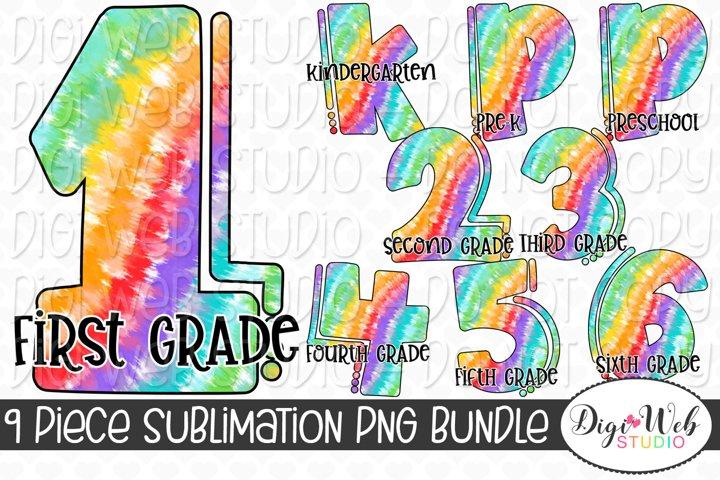 Sublimation Bundle - Back to School Rainbow Tie Dye Grades