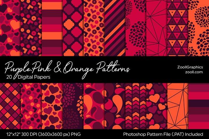 Purple, Pink And Orange Digital Papers
