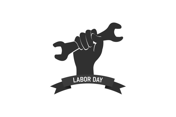 Labor Day logo template. Hand holds wrench symbol Vector