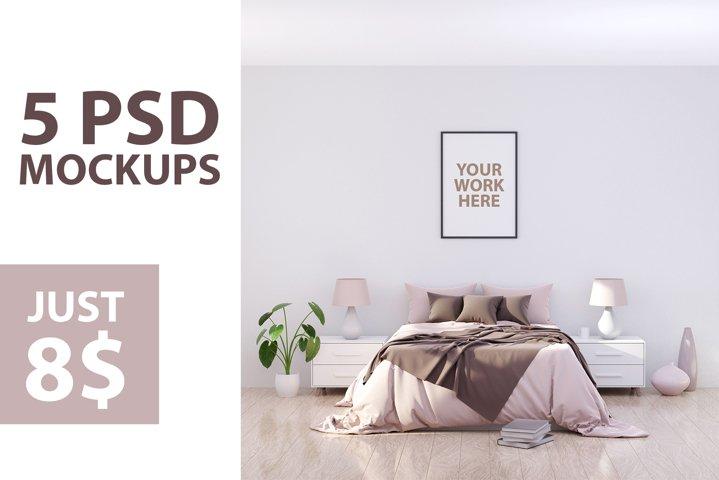 5 Square bedroom wall frame mockups