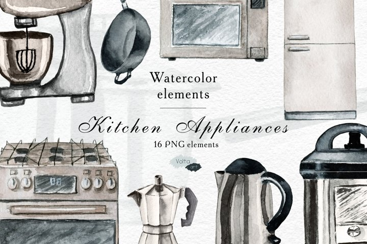 Watercolor Kitchen Appliances and supplies PNG