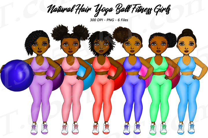 Natural Hair Black Woman Yoga Ball Zen Fitness Clipart