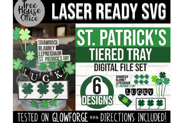 St Patricks Day Tiered Tray Glowforge Svg, Laser St Pattys