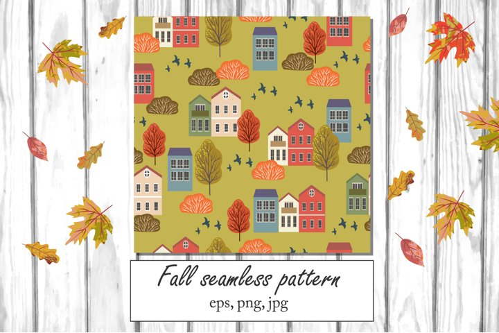 Vector Fall seamless pattern, autumn digital paper, png