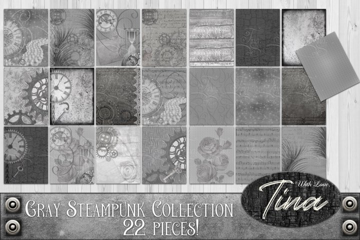 Designers Gray Steampunk Collection 22pc Backgrounds Florals
