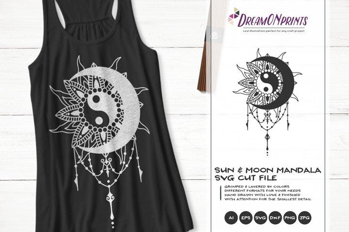 Sun Mandala SVG | Crescent Moon SVG Cut Files