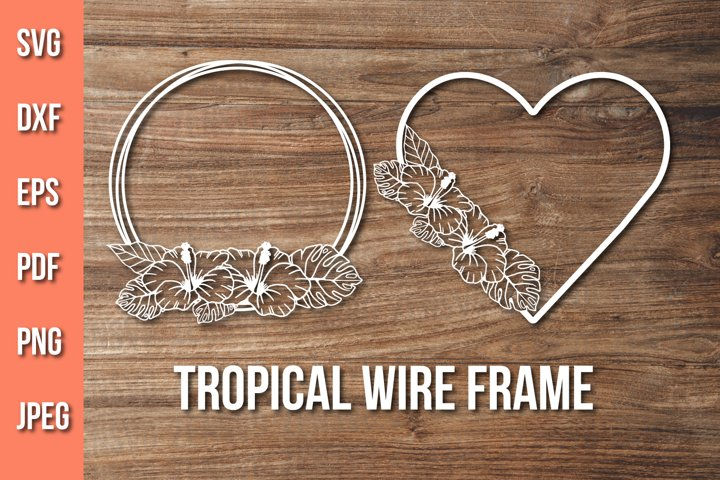 Tropical Round Frame Svg, Floral Heart Frame Cut File