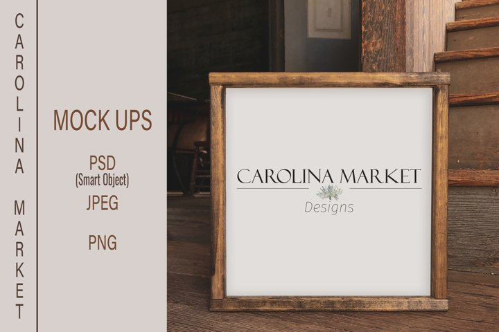 Wood Sign Flat Lay | Real Wood Mockup | Square Mockup