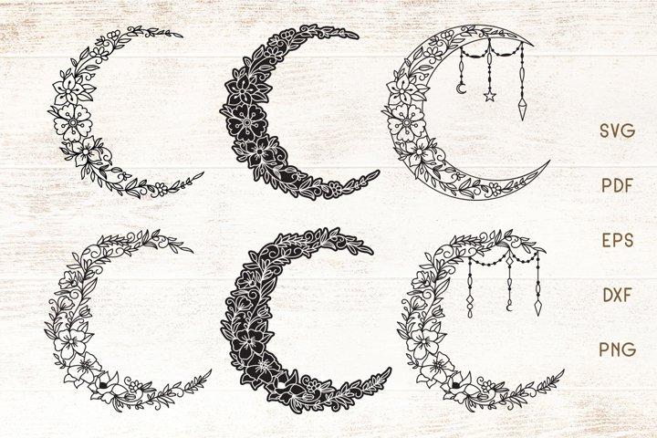Floral Crescent Moon - SVG - Vector