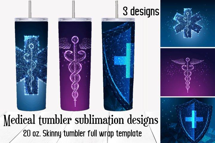 Medical tumbler sublimation designs. Skinny tumbler wrap.