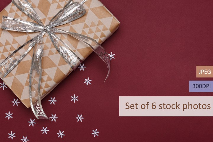 Set of 6 stock photos of gift boxes